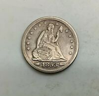 1853 ARROWS & RAYS  SEATED LIBERTY QUARTER BETTER GRADE OLD CLEANING TYPE COIN