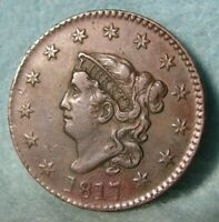 1817 CORONET HEAD LARGE CENT HIGH GRADE DETAILS UNITED STATE