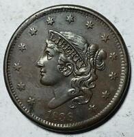 CORONET HEAD LARGE CENT 1838 EXTRA FINE NICE DETAIL COPPER