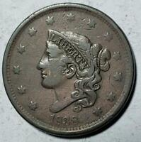 CORONET HEAD LARGE CENT 1838 FINE VF COPPER