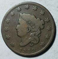 CORONET HEAD LARGE CENT 1819 GOOD VERY GOOD SMALL DATE COPPE