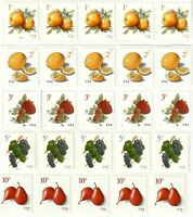 US COILS OF 5 STAMPS EACH   APPLES MEYER LEMONS STRAWBERRIES GRAPES PEARS