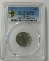 1797 DRAPED BUST DIME PCGS VG DETAILS 13 STARS  TYPE