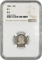 1822 10C NGC GOOD-06 JR-1  ISSUE - BUST DIME -  ISSUE