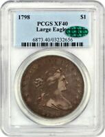 1798 LARGE EAGLE $1 PCGS/CAC EXTRA FINE 40 KNOB 9 GREAT BUST DOLLAR TYPE COIN