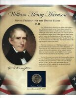 WILLIAM HENRY HARRISON 9TH PRESIDENT OF THE UNITED STATE 1841 DOLLAR & STAMP SET