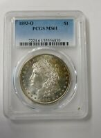 1893 O MORGAN PCGS MINT STATE 61 TONED BEAUTIFUL  COIN