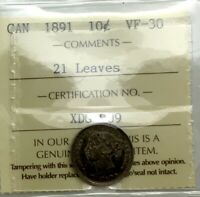 CANADA 1891 21 LEAVES REVERSE ICCS VF 30  GRADED COIN  NICE ORIGINAL LOOK