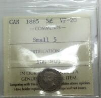 CANADA 1885 SMALL 5 FIVE CENTS SILVER  GRADED ICCS VF20 NICE SHARP MID GRADE