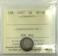 CANADA 1887 KEY DATE  5 CENTS SILVER  GRADED ICCS VF30  NICE SHARP MID GRADE