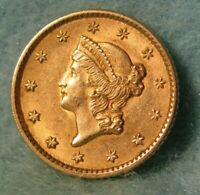 1852 LIBERTY HEAD $1 ONE DOLLAR UNITED STATES GOLD COIN SHAR