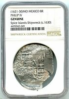 1630 8 REALES SILVER SPANISH COIN SPICE ISLANDS SHIPWRECK NGC GRADED GENUINE