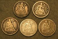 5 PIECE SEATED LIBERTY SILVER DIME UNITED STATES TYPE COIN L