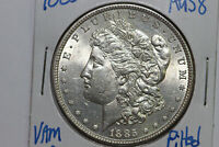 1885-P MORGAN SILVER DOLLAR VAM 1-B PITTED REVERSE ABOUT UNCIRCULATED MDX4048