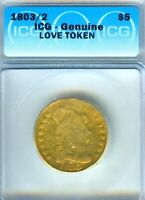 1803/2 CAPPED BUST HALF EAGLE LOVE TOKEN $5 GOLD VERY VERY S