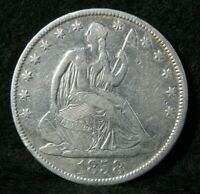 1858 O SEATED LIBERTY SILVER HALF DOLLAR BETTER GRADE UNITED
