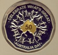 2010 50CT  GOLD PLATED  COIN     SILVER PROOF AUSTRALIA DAY