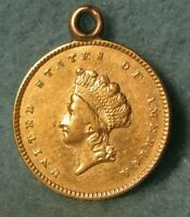 1854 TYPE 2 INDIAN PRINCESS $1 DOLLAR UNITED STATES GOLD COIN HIGH GRADE DETAILS