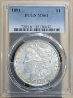 1891 MORGAN SILVER DOLLAR PCGS MINT STATE 61  COIN - HARDER TO FIND IN UNCIRCULATED