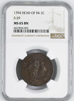 1794 FLOWING HAIR LARGE 1C NGC MINT STATE 65 BN