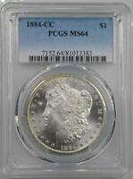 1884-CC MORGAN SILVER DOLLAR PCGS MINT STATE 64 VAM-7A FROSTY & BLAST WHITE DOUBLED 1&8