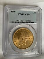 1900 GOLD $20 LIBERTY HEAD DOUBLE EAGLE COIN PCGS MINT STATE
