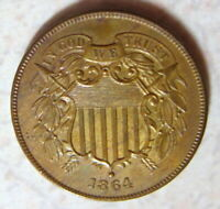 1864  2 CENT PIECE UNCIRCULATED RED BROWN
