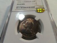 I1 AUSTRALIA 1959 1/2 PENNY NGC PROOF 63 BROWN W/ WINGS STIC