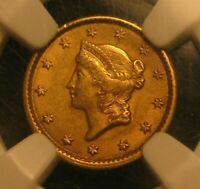 1851 LIBERTY HEAD $1 ONE DOLLAR UNITED STATES GOLD COIN NGC CERTIFIED AU 58