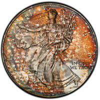 MINT STATE 64 1999 $1 SILVER EAGLE ASE DOLLAR PCGS SECURE- UNIQUE PATTERN TONED