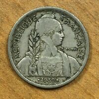.1939. A  FRENCH INDOCHINA 10 CENTS COPPER NICKEL KM 21.2 DATE BETWEEN TWO DOTS