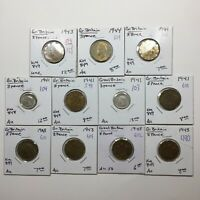 MIXED LOT OF ELEVEN  11  THREE PENCE COINS OF GREAT BRITAIN WW2 ERA 1941 1944