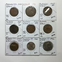 MIXED LOT OF NINE  9  COINS OF AUSTRALIA   1919 TO 1986   NICE SELECTION