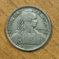 .1939. A  FRENCH INDOCHINA 10 CENTS COPPER NICKEL KM21.2 DATE BETWEEN TWO DOTS