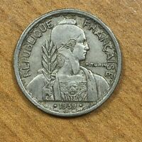 .1939. A  FRENCH INDOCHINA 10 CENTS COPPER NICKEL KM21.2 DATE BETWEEN 2 DOTS AU