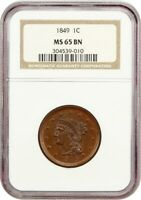 1849 1C NGC MINT STATE 65 BN - BRAIDED HAIR LARGE CENTS 1839-1857 -  DATE