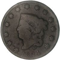 1824 CORONET LARGE CENT ABOUT GOOD AG SEE PICS E842