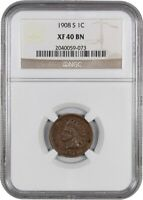 1908-S 1C NGC EXTRA FINE 40 - INDIAN CENT - POPULAR KEY DATE