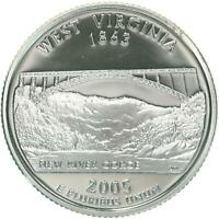 2005 S STATE QUARTER WEST VIRGINIA GEM PROOF DEEP CAMEO 90 SILVER US COIN