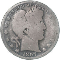 1897 O BARBER HALF DOLLAR 90 SILVER ABOUT GOOD AG