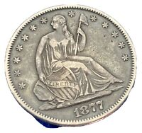 1877 S SEATED EXTRA FINE IMO LIBERTY 50C HALF DOLLAR NOT WAL