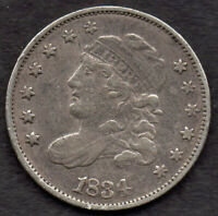 1834 CAPPED BUST HALF DIME, LM-4, R-1, VF 1