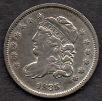 1835 CAPPED BUST HALF DIME, LM-8.2, R-2, EXTRA FINE