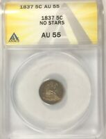 1837 SEATED NO STARS  HALF DIME TONED COLLECTORS COIN ANACS AU 55 NICE COIN
