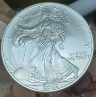 2003 AMERICAN SILVER EAGLE DOLLAR RAINBOW TONING ON REVERSE SIDE BU