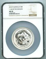 2012 P $8 5 OUNCE   YEAR OF THE DRAGON COIN .999 SILVER NGC