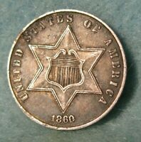 1860 THREE CENT SILVER HIGH GRADE UNITED STATES TYPE COIN