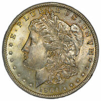 1904-O $1 MORGAN DOLLAR - LUSTER - ORIGINAL GOLD TONING - BETTER DATE SKU-D1430