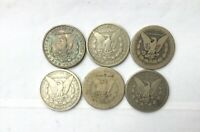 1879 S   1896 P MORGAN SILVER DOLLARS LOT OF 6 CULL COINS ALL WITH ISSUES