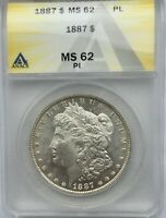 1887 SILVER DOLLAR MS 62 PROOF LIKE ANACS ORIGINAL COIN BLAST WHITE GORGEOUS
